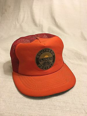 Vintage Southern Pacific Lines Railroad Mesh Hat Adjustable Cap Orange USA