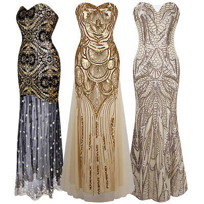 Vintage 1920s Sequin Gatsby Mermaid Flapper Long Dress Party Evening Costumes