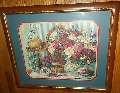 Home Interiors Flowers Hat Teacup Pearls Picture Blue Matted Framed Barbara Mock