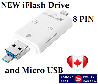 3 IN 1 iFlash Drive 8pin Lightning and Micro USB Card Reader iphone android ipad