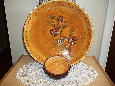 Home & and Garden Party Northwoods Pinecone Serving Chip Dish & Dip Bowl Rustic