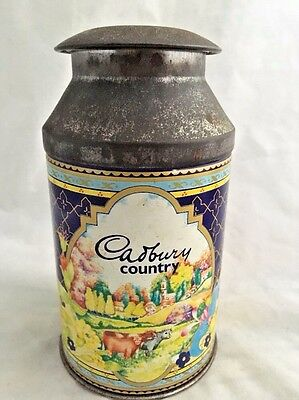 Vintage Cadberry Candy Dairy Milk Chocolate Advertising Tin Drink Container