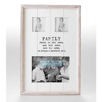 French Shabby Wooden Family Photo Picture Frame Collage 5x7 w Words Quote