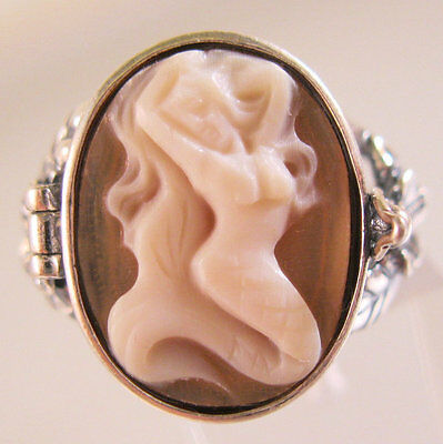 Mermaid Cameo Poison Locket Ring Sterling Silver Signed Size 9 Vintage Style