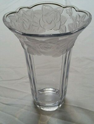 Vintage Crystal Glass Vase with Frosted Rose Design 19cm Tall