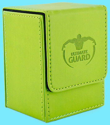 ULTIMATE GUARD LEATHERETTE FLIP DECK CASE Standard Size LIGHT GREEN 80+ Card Box