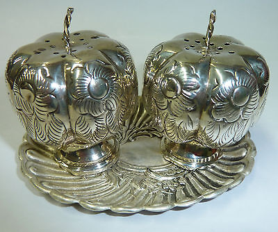 Vintage Small Stirling & Mexican Silver Condiment Set With Victorian Tray