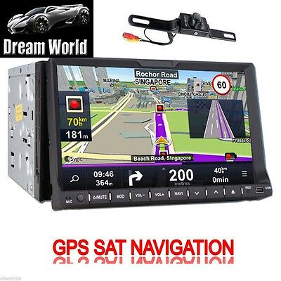 "GPS System 2 Din HD 7"" Car Stereo CD/DVD/Radio Player Ipod Bluetooth BT+CAMERA"