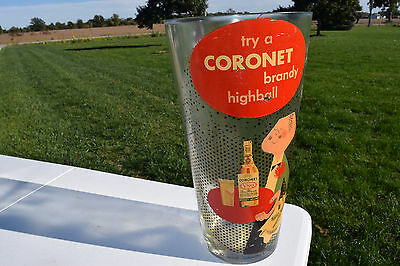 """Try a Coronet Brandy Highball 14"""" Tall Thick Glass Display Piece Vintage display"""