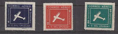 URUGUAY, 1924, Air, Biplane set of 3, lhm.
