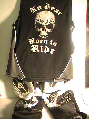 No Fear Motor Cross Pants &  Born To Ride Sleeveless Top Size Large