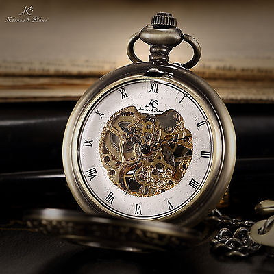 KS Bronze Case White Half-Hunter FOB Steampunk Skeleton Mechanical Pocket Watch