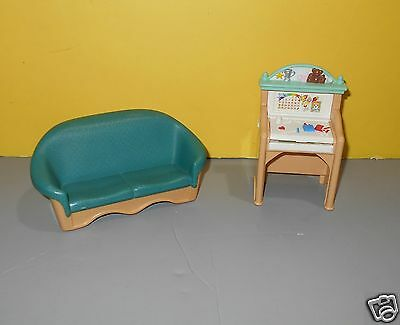 Fisher Price Loving Family Dollhouse Child's Desk & 1993 Green Sofa Couch