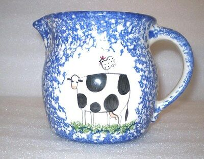 Molly Dallas Pitcher Blue & White Spatterware Signed Old English Large Creamer