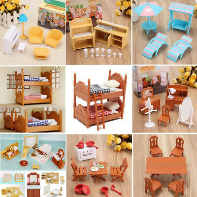 Plastic Table Miniature Dollhouse Furniture Toy Set Bathroom Kitchen Accessories