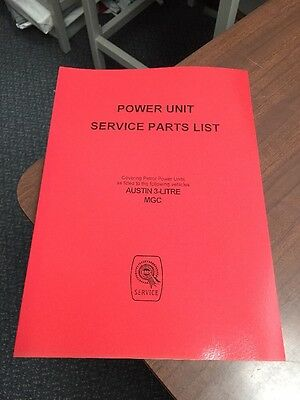 MG C MGC Parts Manual Power Engine Gearbox Catalogue Service Austin 3 Litre