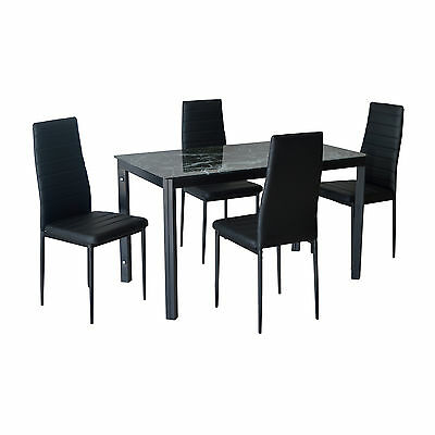 Black / White Glass Dining Table and Chair Set Faux Leather Kitchen Furniture