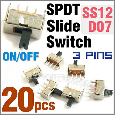 20 pcs 2 Position SPDT Vertical Slide Switch Small Mini Size ON-OFF 3 Pin PCB