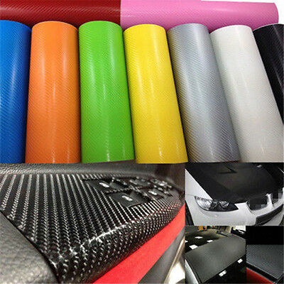 2017  Hot  50*127cm 3D Carbon Fiber Vinyl Car Wrap Sheet Roll Film Sticker Decal