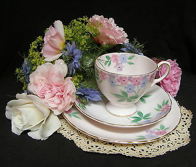 VINTAGE Tuscan pink hand painted bone china tea cup trio
