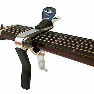 GUITAR CAPO + pick holder acoustic electric quick release TRIGGER key clamp