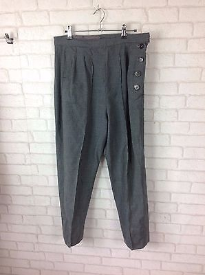 Vintage 1950 Green Grey Tweed Hounds Tooth High Waist Side Button Trouser Size M