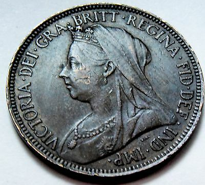 1896 Queen Victoria Great Britain Bronze Halfpenny Half Penny  High Grade Coin