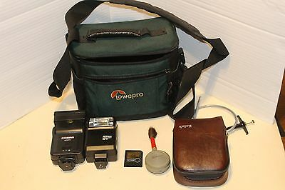 Lowepro bag and contents inc Smartmedia 128Mb and flash guns