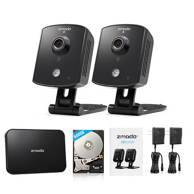 Zmodo 4CH NVR 2 720p Wireless IP Network Home Security Camera System 500GB HDD