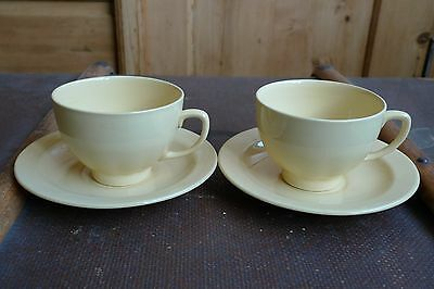 VINTAGE JASMINE WOODS WARE CUP AND SAUCER x 2 - Unusual shape, retro, utility