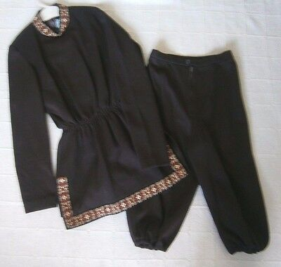 Vintage Girls 2-Piece Outfit - Age 13-14 Approx - Brown Tunic & Trousers - New