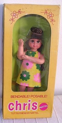 Barbie Tutti Rare Brunette Chris #8130 From Europe 1976 ,flowered Dress