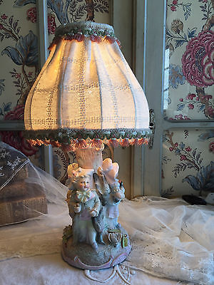 SUBLIME SHABBY ANTIQUE FRENCH BISQUE PORCELAIN STATUE FIGURINE LAMPSHADE 19thC