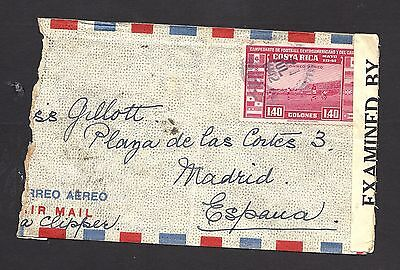 1942 Costa Rica Air Mail Cover Opened by Censor to Madrid