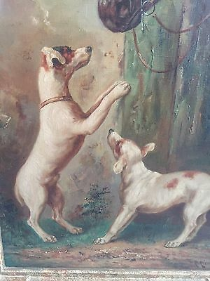 R. Kienbock circa 1900, signed Oil Painting of horses with Jack Russels in Frame