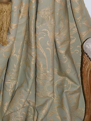 ZOFFANY Filigree Toile CURTAINS Interlined GOLD/DUCK EGG Elegant Romantic Scroll