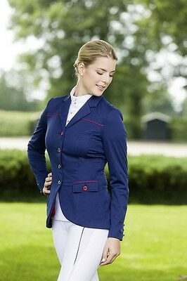 Clearance!! Hkm Pro Team Navy/red Ladies Softshell Competition Jacket