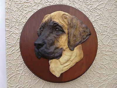 Ronnie Jones 1998 Superb 3D Dog Sculpture Of A Fawn Great Dane Puppy Head