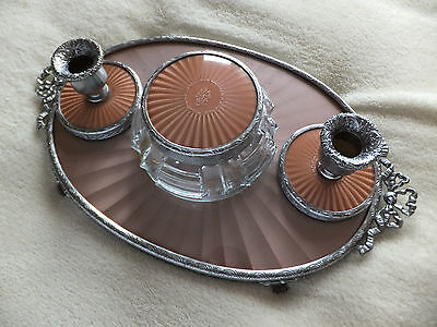 Vintage 4 Piece Faux Guilloche Vanity / Dressing Table Set inc Tray