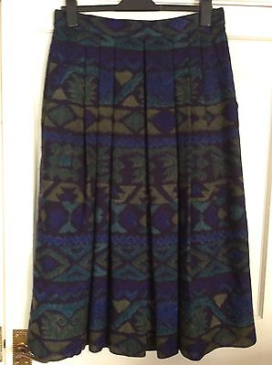 Vintage Yarell Wool Skirt Blues And Green Size 14