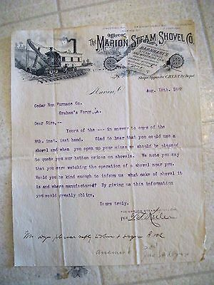 "Collectible 1888 Letter Head ""THE MARION STEAM SHOVEL CO."" Marion,Ohio"