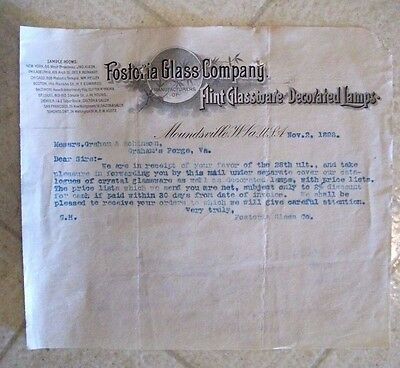 "Collectible 1898 Letter Head ""FOSTORIA GLASS COMPANY"" Moundsville, W.Virginia"