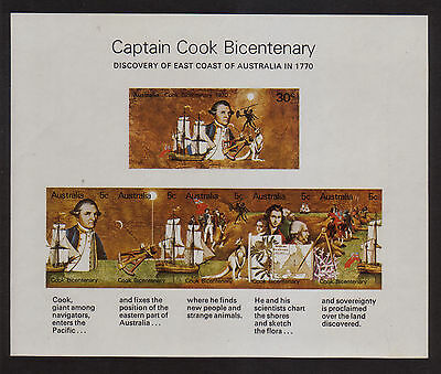 Australia 1970 Cook Mint unhinged  mini sheet stamps