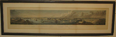 Antique c1850 ST PETERSBURG RUSSIA Panoramic BIRDS EYE VIEW Aquatint Etching