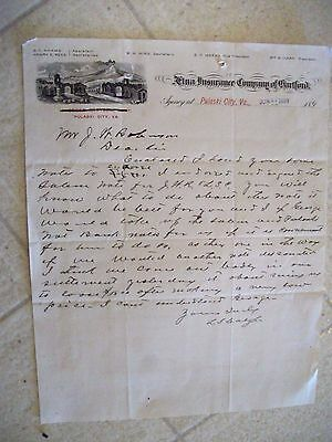 "Collectible 1899 Letter Head ""AETNA INSURANCE CO. OF HARTFORD"" Pulaski City,Va"