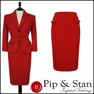 M&s Petite Uk 14/12 Us 10/8 Poppy Red Wool Pencil Skirt Suit Women Ladies Size