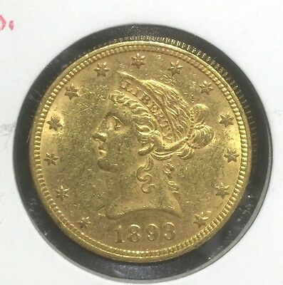 1893 $10 Gold Liberty Pre-33 Type Gold RAW XF to AU Details