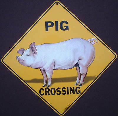 PIG CROSSING SIGN aluminum pigs decor  picture home signs novelty animals art