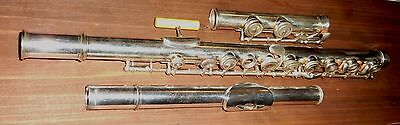 Rare unmarked 19th Cent. French Boehm system silver Flute