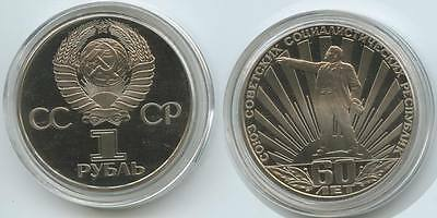 """G0845 - Russland 1 Rouble 1982 Proof Y#190.1 """"60.Years Sowjetunion"""" Russia Rubel"""